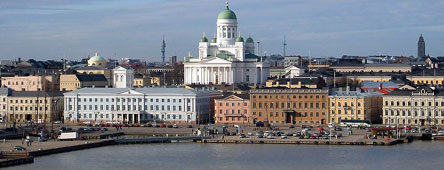 Port of Helsinki and Lutheran Cathedral in Helsinki, Finland
